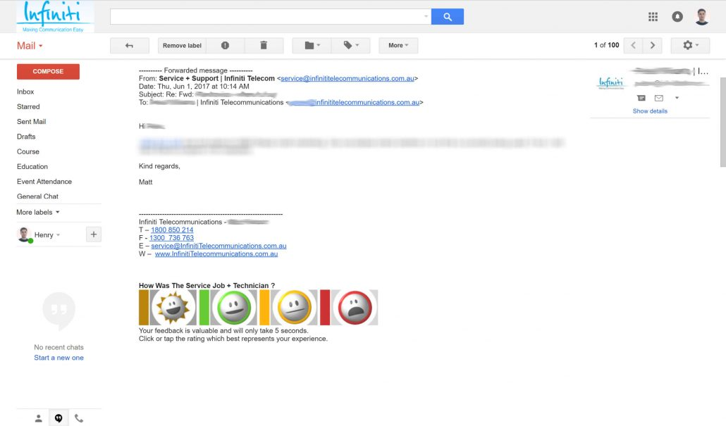 telco customer survey in gmail