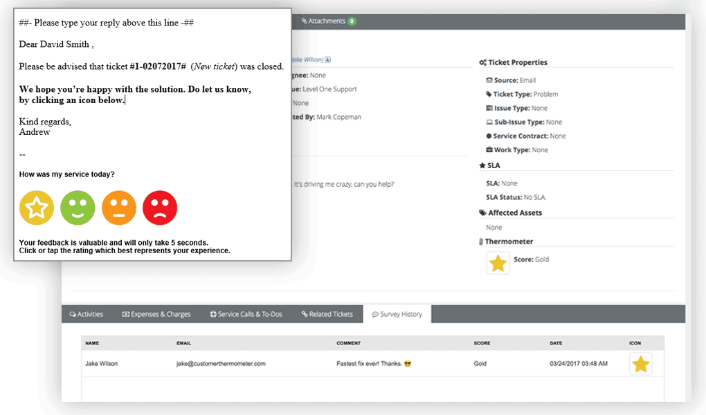 Kaseya BMS example customer support response