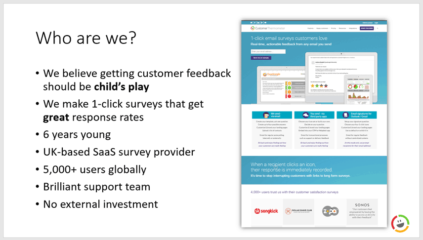customer thermometer business case - who are we?