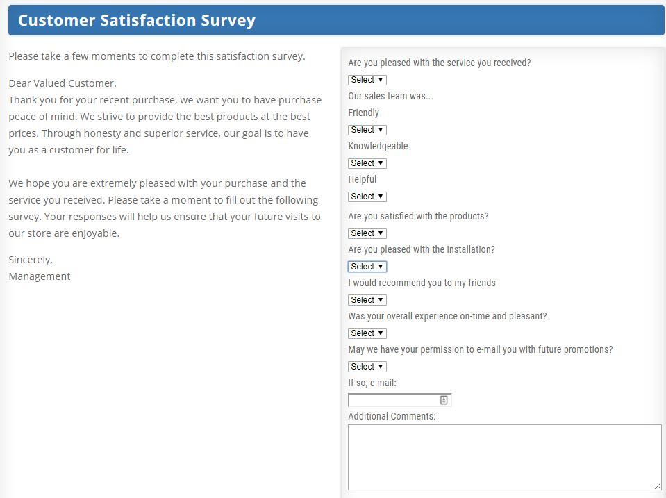 CFM Floors customer survey