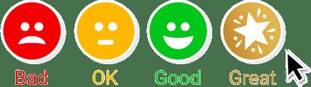 Customer satisfaction feedback buttons