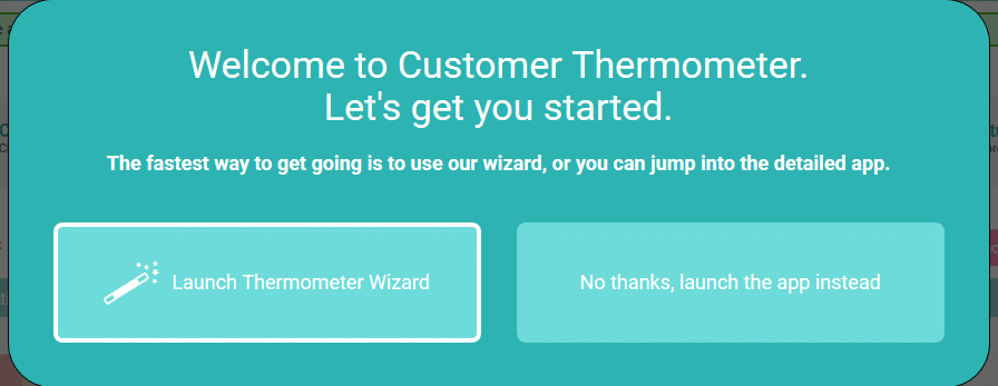 customer thermometer app wizard choice
