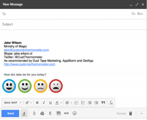 gmail signature survey example with icons