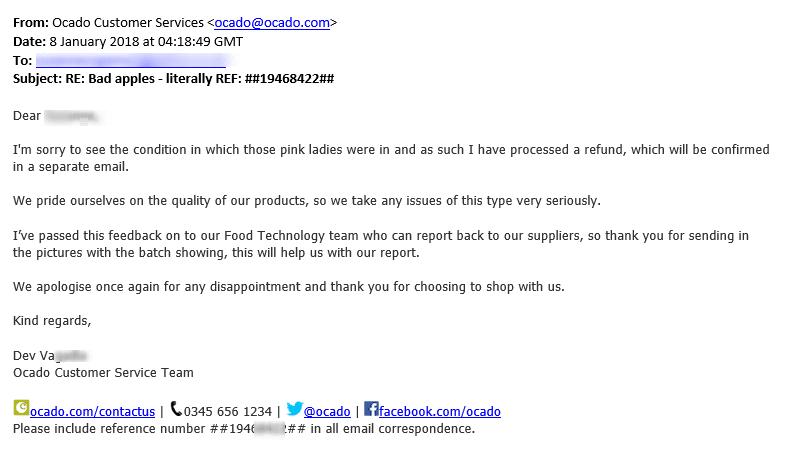 Ocado complaint response
