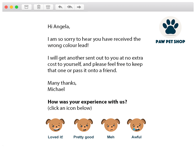 retail service customer experience journey ratings email words customized cute awesome 1-click feedback