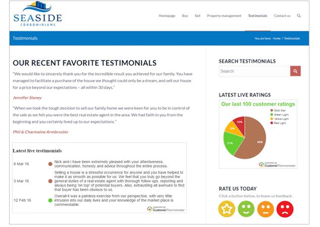 real estate testimonials realtor surveys customer thermometer