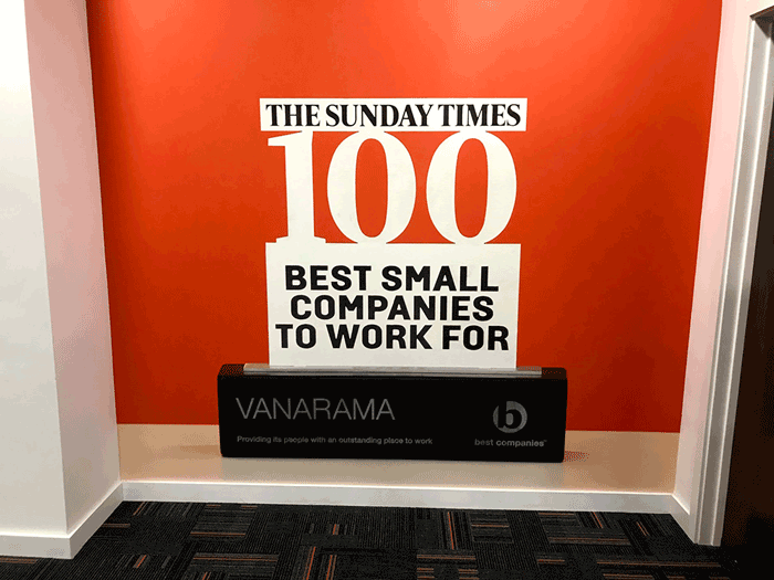 vanarama sunday times best 100 small companies to work for