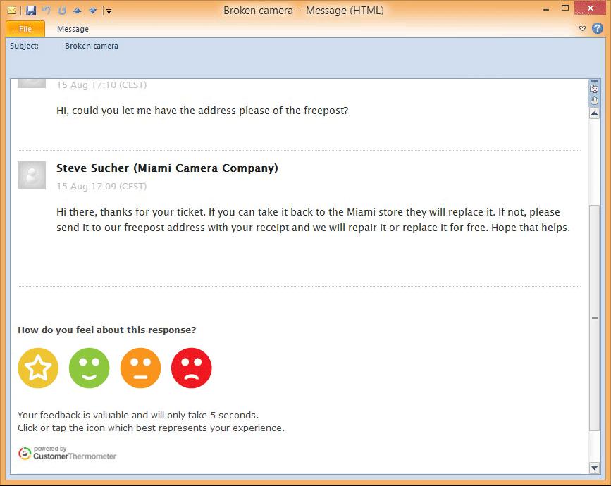 Zendesk customer satisfaction email
