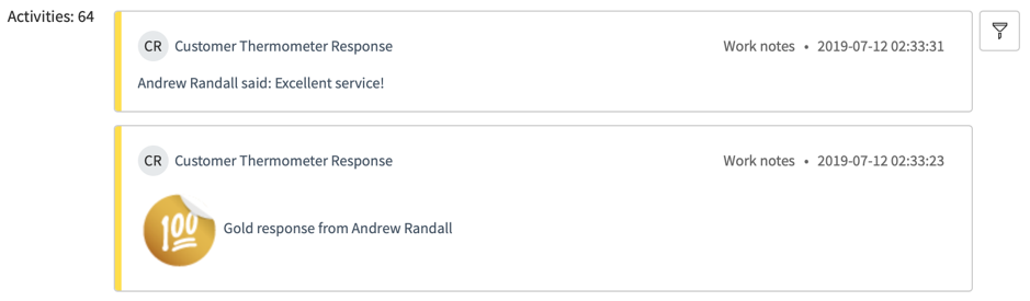 ServiceNow Activities Feed Comments Feedback Customer Thermometer Comments