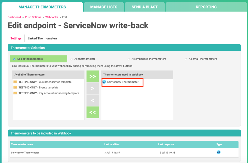 ServiceNow Customer Thermometer Edit Endpoint Thermometer