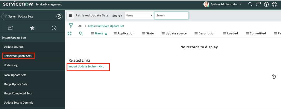 ServiceNow System Retrieve Update Sets