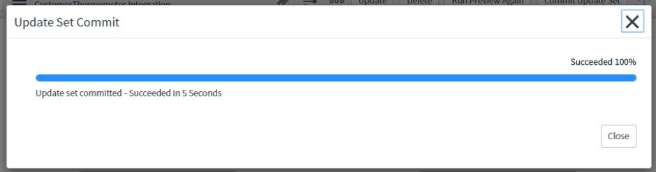 ServiceNow Update Set Commit Screenshot