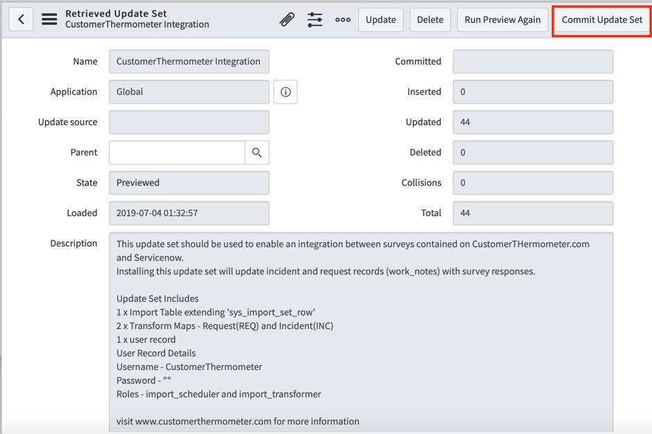 ServiceNow Commit Update Set Option