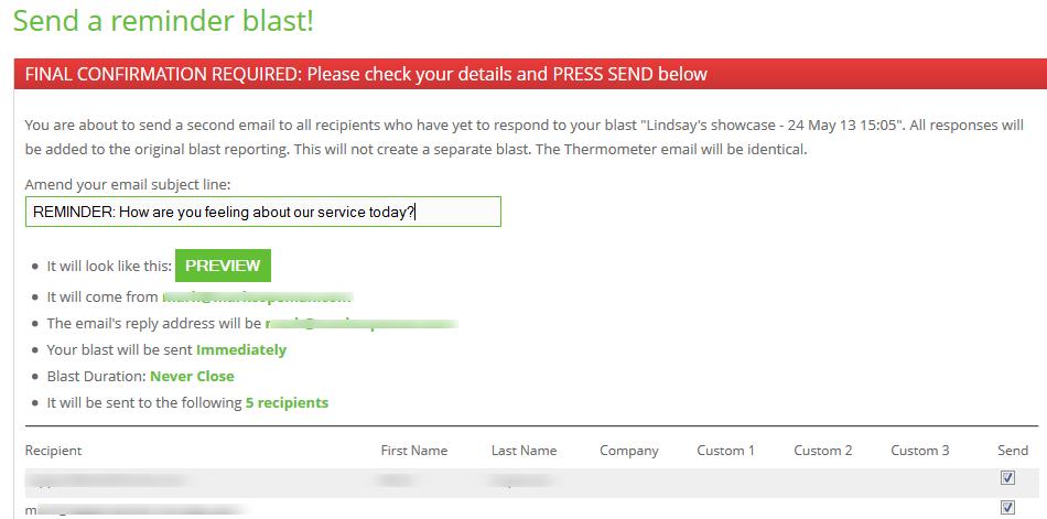 preview final confirmation survey app