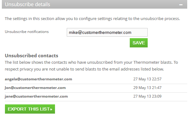 Unsubscribe details Customer Thermometer