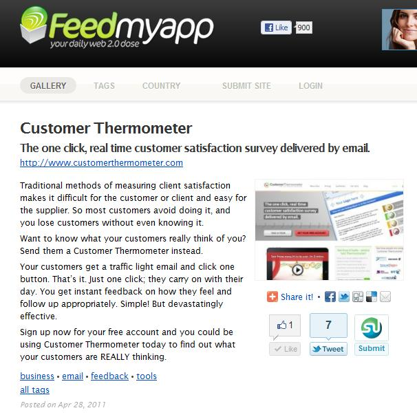 Feedmyapp features the awesome Customer satisfaction tool - Customer Thermometer